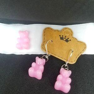 Pink Gummy Bear Velvet Choker and Earrings